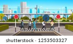 mix race people going crosswalk ... | Shutterstock .eps vector #1253503327