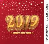 2019 happy new year creative... | Shutterstock .eps vector #1253504281