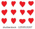 set of different red hearts ... | Shutterstock .eps vector #1253515207