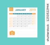 calendar january 2019 year in... | Shutterstock .eps vector #1253522944