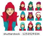 women in autumn and winter... | Shutterstock .eps vector #1253529334