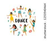 set of young dancing happy... | Shutterstock .eps vector #1253540464
