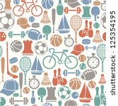 seamless pattern with sport... | Shutterstock .eps vector #125354195