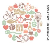 round card with healthy... | Shutterstock .eps vector #125354201