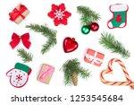christmas background with fir... | Shutterstock . vector #1253545684
