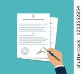 contract document signing. hand ... | Shutterstock .eps vector #1253552854