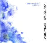 watercolor blue background with ...   Shutterstock . vector #1253560954