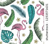 tropical seamless pattern.... | Shutterstock .eps vector #1253571631