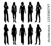 set of vector silhouettes of... | Shutterstock .eps vector #1253585797