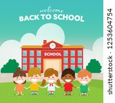 back to school children with... | Shutterstock .eps vector #1253604754