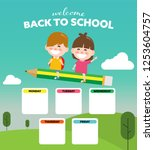 back to school and timetable... | Shutterstock .eps vector #1253604757