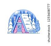 snowy scene with gingerbread... | Shutterstock .eps vector #1253608777