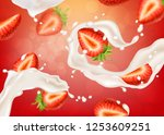 strawberry yogurt.realistic... | Shutterstock . vector #1253609251