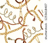 seamless pattern with chain for ... | Shutterstock .eps vector #1253618407