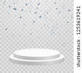 white podium with confetti.... | Shutterstock .eps vector #1253619241
