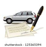 paperwork for car. illustration ... | Shutterstock .eps vector #125365394
