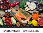healthy food clean eating... | Shutterstock . vector #1253661607