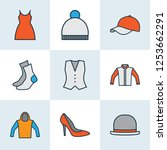 garment icons colored line set... | Shutterstock .eps vector #1253662291