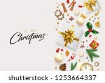 white merry christmas card with ... | Shutterstock .eps vector #1253664337