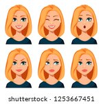 face expressions of woman with... | Shutterstock .eps vector #1253667451