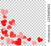 red hearts confetti background. ... | Shutterstock .eps vector #1253685601