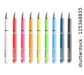 collection of colorful pens.... | Shutterstock .eps vector #125368835