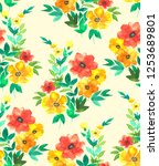 seamless watercolor floral... | Shutterstock . vector #1253689801