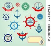 set of nautical badges and... | Shutterstock .eps vector #125369681