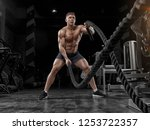 muscular man working out in gym ...   Shutterstock . vector #1253722357