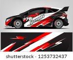 car decal sticker wrap design... | Shutterstock .eps vector #1253732437