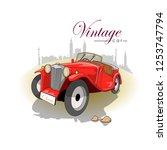 classic red car cartoon | Shutterstock .eps vector #1253747794
