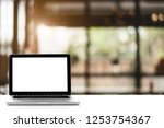 empty space white table and... | Shutterstock . vector #1253754367