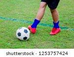 boy soccer player speed run to...   Shutterstock . vector #1253757424