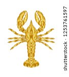 gold lobster  hand drawing   | Shutterstock .eps vector #1253761597