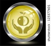 apple in hands. internet button.... | Shutterstock .eps vector #125377601