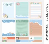 set of memo design  planner and ... | Shutterstock .eps vector #1253779477