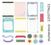 set of cute girls notes  to do... | Shutterstock .eps vector #1253779621