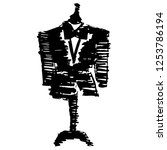 hand drawn fashion mannequin... | Shutterstock .eps vector #1253786194