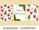 hand drawn christmas card... | Shutterstock .eps vector #1253823361