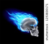 silver skull on blue fire with... | Shutterstock .eps vector #1253830171