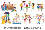set of isolated kid at... | Shutterstock .eps vector #1253834341