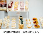 Candy Bar.  Sweet holiday buffet with cupcakes and other desserts. Delicious wedding reception candy bar