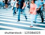 people walking on big city...   Shutterstock . vector #125386025