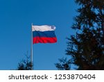 the national flag of russia on...   Shutterstock . vector #1253870404