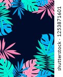 tropical summer palm and... | Shutterstock .eps vector #1253871601