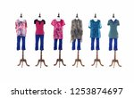 female in stripy clothes with...   Shutterstock . vector #1253874697