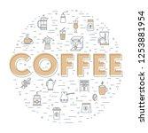 coffee background. flat design. ...   Shutterstock .eps vector #1253881954