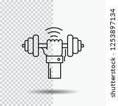 dumbbell  gain  lifting  power  ... | Shutterstock .eps vector #1253897134
