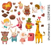 valentines with cute animals | Shutterstock .eps vector #125391581