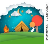 camping  tent illustration.... | Shutterstock .eps vector #1253920024